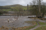 © Sarah France  <em>River Ribble burst banks and floods mill</em>